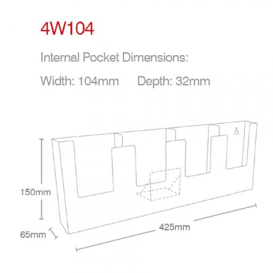 dl-portrait-4-pocket-wall-mounted-holder-4w104-line-drawing